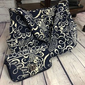 Vera Bradley Blue Hobo Bag with Matching Wallet